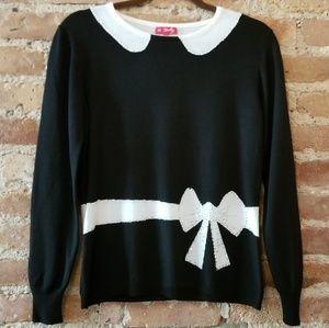 Derhy Faux Collar Rhinestone Sweater